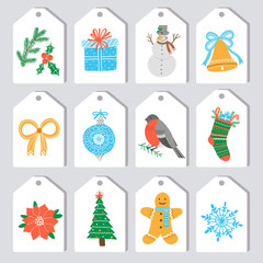 Christmas gift tags and labels. Vector template