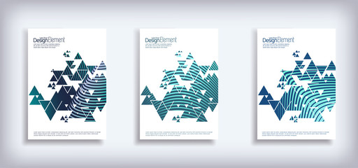 Minimal Vector Cover design set with abstract triangles. Modern halftone gradients. Concept Poster template.