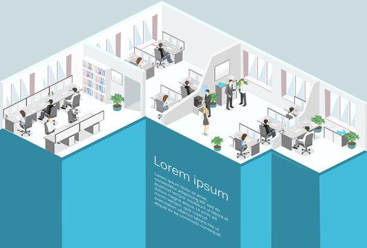 Flat 3d isometric office floor interior departments concept vector.