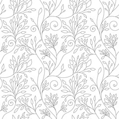 Black and white vector floral pattern. Folklore, boho style flowers