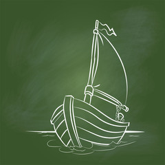 Hand drawing Boat Cartoon on Green board -Vector illustration