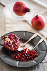 a pomegranate cut into half