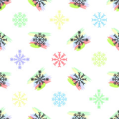 Seamless geometric winter Christmas new year pattern design background with pastel colored colorful snow flakes and rainbow like small backdrops