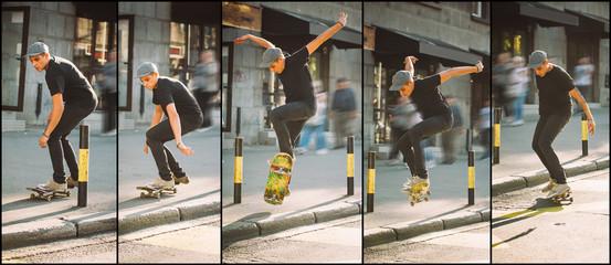 Skateboard curb and roadside street jump sequence. Freeride school skateboarding