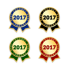 Ribbons award best product of year 2017 set. Gold ribbon award icon isolated white background. Best product golden label for prize, badge, medal, guarantee quality product Vector illustration