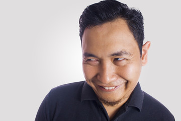 Funny Asian Man Close Up Smiling Thinking Face