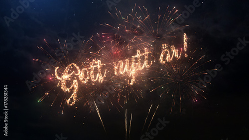 Awesome Happy New Year Greeting Text In Swedish With Particles And Sparks On Black  Night Sky With