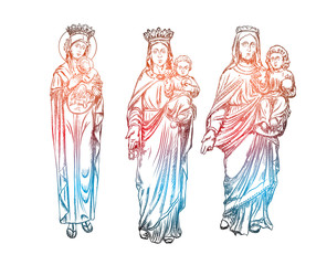 Set of Mother Mary with Jesus Christ baby in her hands. Mother of God with a child. The Nativity or the Birth of the Blessed Jesus Christ. Blackwork adult flesh tattoo concept. Vector.