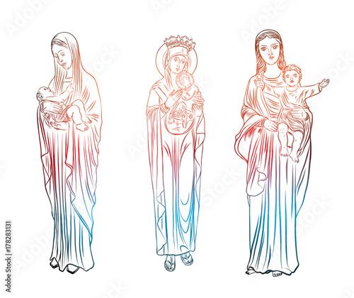 Set Of Virgin Mary Tattoo Art Symbol Of Christianity Religion