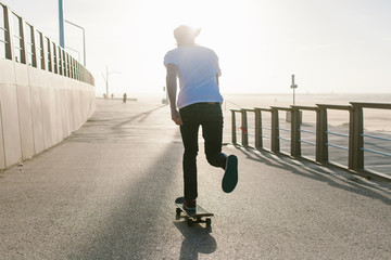 Man skateboarding along the beach