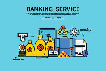 Vintage retro color style flat line vector editable graphic illustration, banking service