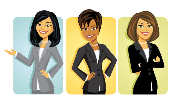 A set of three diverse cartoon business women in sassy poses
