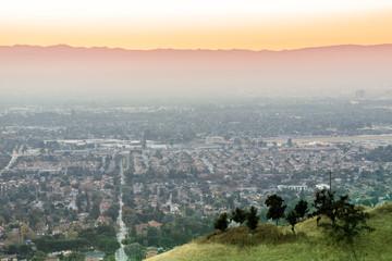 Air Polluted Silicon Valley Sunset. Mt Hamilton, San Jose, California, USA.
