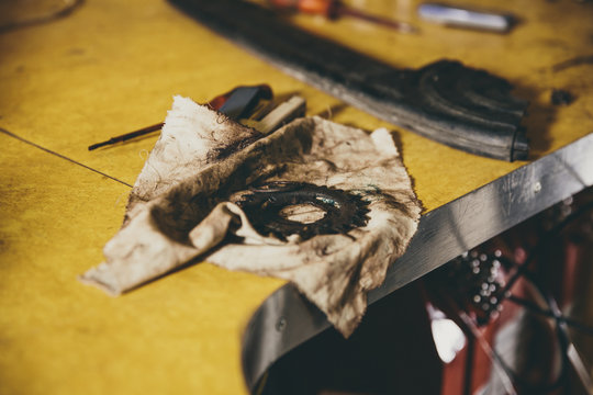 Bicycle sprocket on a dirty cloth