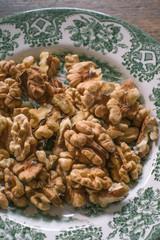 Plate of fresh walnuts