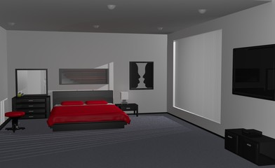 Illustration of the interior design of a bedroom.