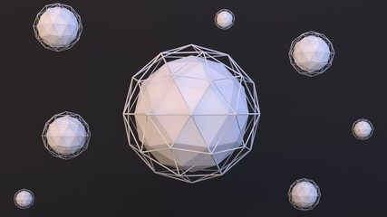 Modern 3D abstract image of ico spheres with wireframes around them.