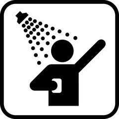 Shower icon. Man taking shower. Vector shower web icon.