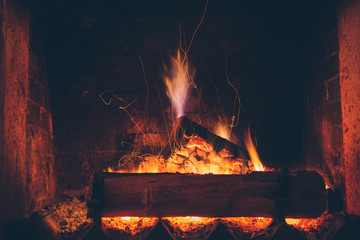 Sparking fire in fireplace