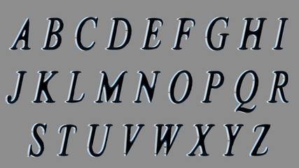 3D alphabet, uppercase letters. Black in front, metallic at sides letters. Isolated.. Smoothed version.