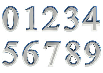 Set of glossy metallic 3D numbers. Isolated.
