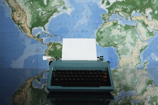 Typewriter with Worldmap