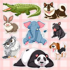 Sticker set for wild animals on pink background