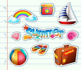 Sticker set for summer items