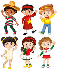 Boys and girls in different country costume