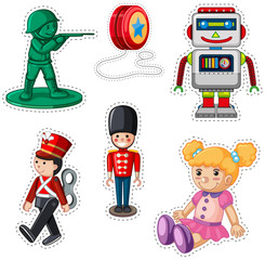 Sticker design with different dolls