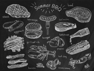 beautiful illustration summer bbq food, ribs, sausage, beef, steak, eggplant, burger, bacon, vegetables, herbs, mushroom, hot dog, lobster, calamari, ketchup, salmon, pepper on chalkboard background