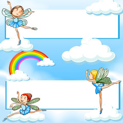 Two banners with fairies flying in blue sky