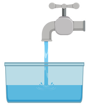 Faucet and tap water in bucket