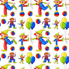 Seamless background with clowns and balloons