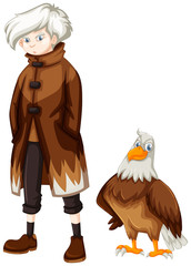 Wild eagle and boy with white hair