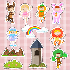Sticker design with kids in costume and stage scenes