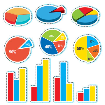 Different designs for piecharts and barcharts