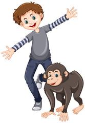 Little boy with cute chimpanzee