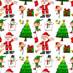 Seamless background with elf and santa