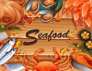 Different types of seafood on board