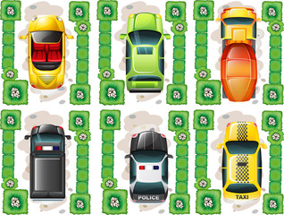 Different types of cars from topview