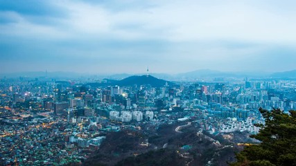 Wall Mural - Time lapse day to night skyline of Seoul with Seoul tower, South Korea.