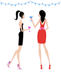 Stylish Women at a Cocktail Party