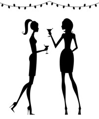 Silhouettes of Stylish Women at a Cocktail Party
