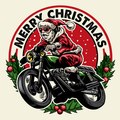 santa claus riding motorcycle badge