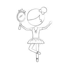 little girl dancer ballet holding princess mirror