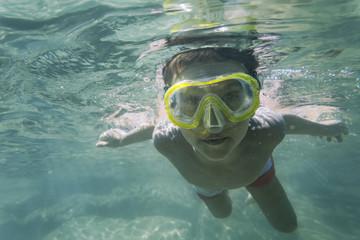 Summer fun swimming underwater