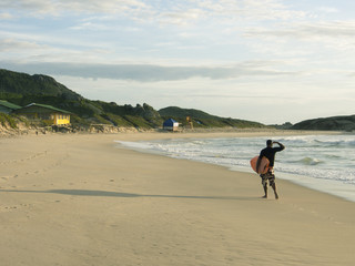 Surfer walking along a beach checking the waves at Praia Mole Florianopolis, Brazil.
