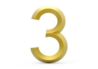 3D render golden beveled number 3