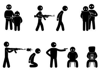 Set of terrorist and hostages people. Terrorist hostage threat. Terrorism world threat concept. Vector illustration.